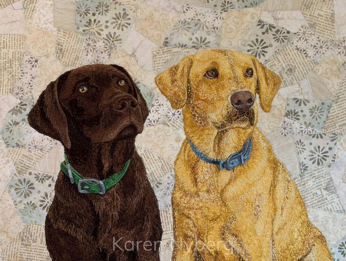 Textile artwork of Karen's fabulous pups, Luke and Leo.  She gifted this artwork to her husband, Doug, on Christmas morning 2020.